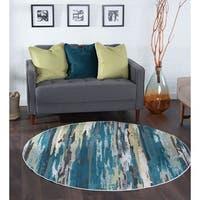 Alise Rugs Montez Contemporary Stripe Round Area Rug - 5'3 x 5'3