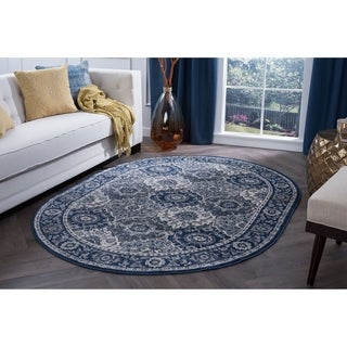 Alise Rugs Carrington Traditional Oriental Oval Area Rug - 5'3 x 7'3