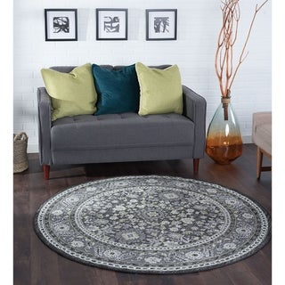 Alise Rugs Montez Traditional Oriental Round Area Rug