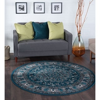 Alise Rugs Montez Multi Traditional Oriental Area Rug (5'3 Round) - 5'3