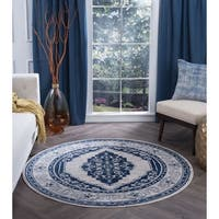 Alise Rugs Carrington Traditional Oriental Round Area Rug