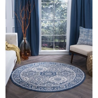 Alise Rugs Carrington Traditional Oriental Area Rug (5'3 Round) - 5'3