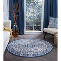 Alise Rugs Carrington Traditional Oriental Round Area Rug - 5'3 x 5'3