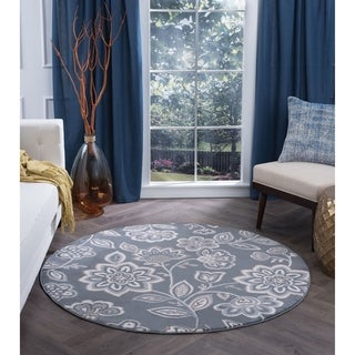 Alise Rugs Carrington Round Floral Area Rug (7'10 Round)