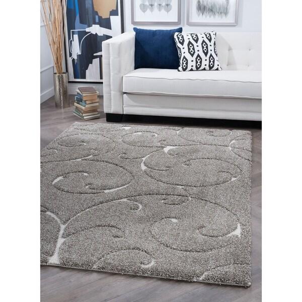 Alise Rugs Waverly Grey Shag Transitional Scroll Area Rug (7'10 x 7'10)