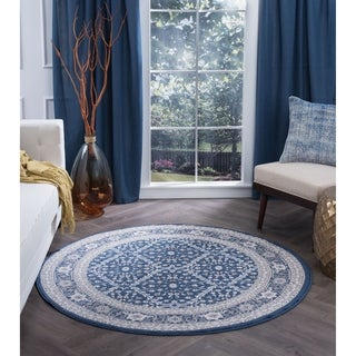 Alise Rugs Carrington Traditional Oriental Round Area Rug (7'10)