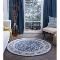 Alise Rugs Carrington Traditional Oriental Area Rug (7'10 Round) - 7'10