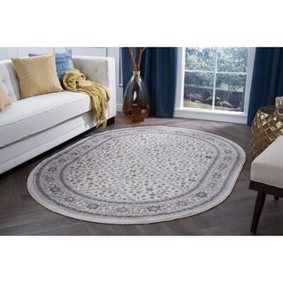 Alise Rugs Carrington Traditional Oriental High-traffic Oval Area Rug (5'3 x 7'3)