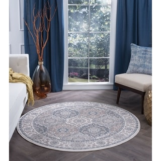 Alise Rugs Carrington Traditional Oriental Round Area Rug (7' 10)