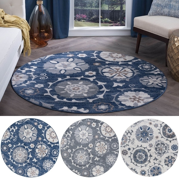 Alise Rugs Carrington Transitional Floral Fabric/Jute Round Area Rug (7'10 x 7'10)