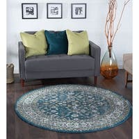 Alise Rugs Montez Traditional Oriental Round Area Rug - 7'10 x 7'10