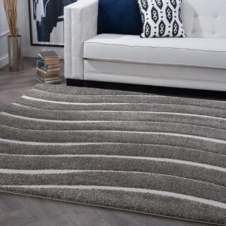 Alise Rugs Waverly Shag Grey Contemporary Stripe Square Area Rug (7'10 x 7'10)