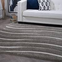Alise Rugs Waverly Shag Gray Contemporary Stripe Area Rug - 7'10