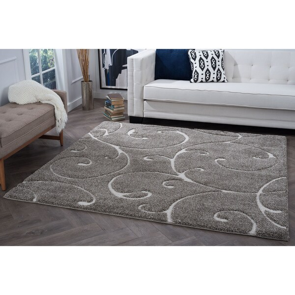 Alise Rugs Waverly Shag Scroll Square Area Rug 3 11 X 3 11 Free
