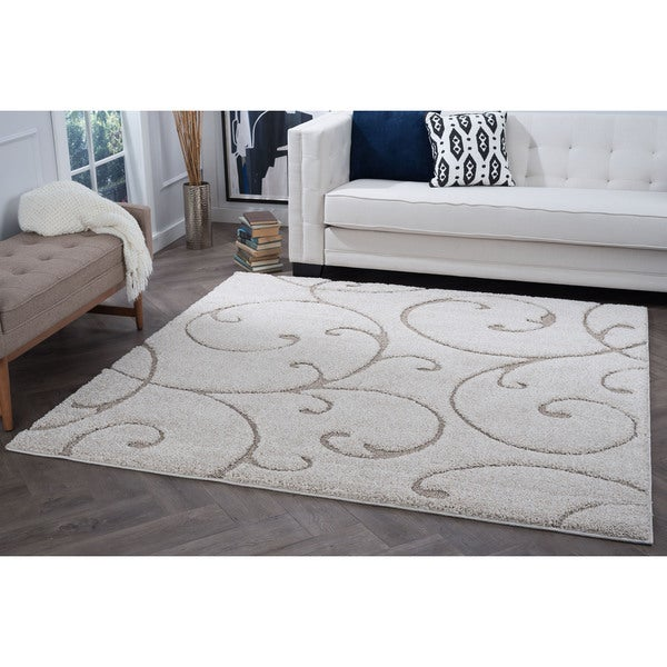 Alise Rugs Waverly Shag Cream Transitional Scroll Area Rug - 7'10