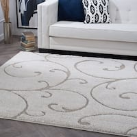 Alise Rugs Waverly Cream Scroll Shag Transitional Square Area Rug (7'10 x 7'10)