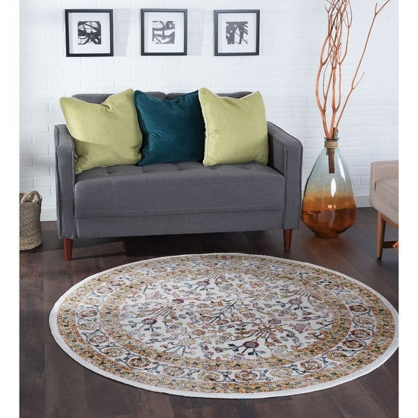 Alise Rugs Montez Traditional Oriental Area Rug (5'3 Round) - 5'3