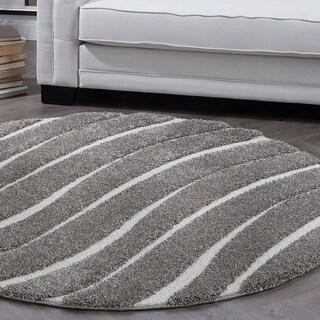 Alise Rugs Waverly Shag Contemporary Stripe Round Area Rug - 3'11 x 3'11