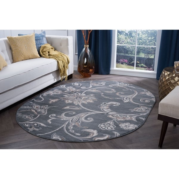 Alise Rugs Carrington Transitional Floral Oval Area Rug - 5'3 x 7'3