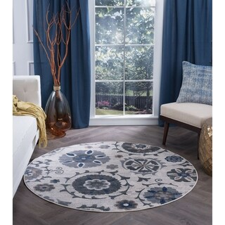 Alise Rugs Carrington Transitional Floral Area Rug (5'3 Round) - 5'3