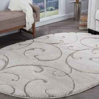Alise Rugs Waverly Shag Transitional Scroll Cream Oval Area Rug (3'11 x 5'3)