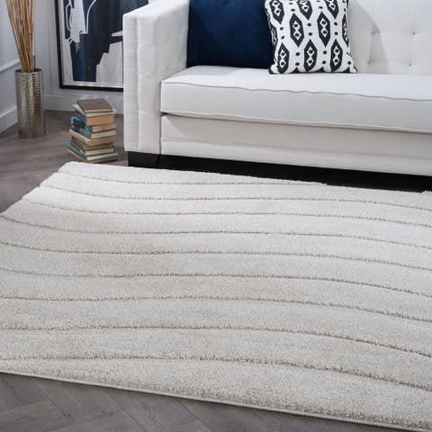 Alise Rugs Waverly Shag Contemporary Stripe Square Area Rug - 3'11 x 3'11