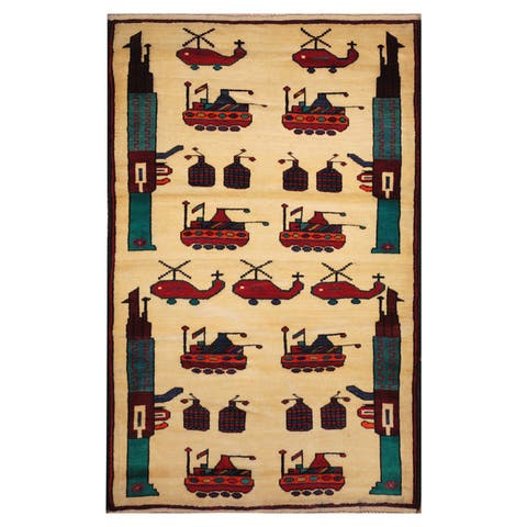 Handmade One-of-a-Kind Wool War Rug (Afghanistan) - 3'2 x 5'2