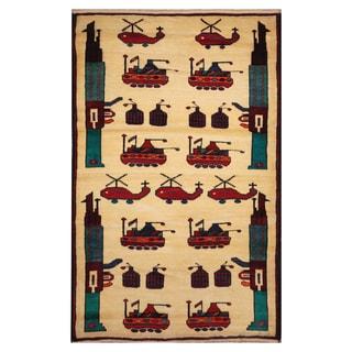 Handmade Herat Oriental Afghan Hand-knotted Wool War Rug (3'2 x 5'2)
