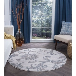 Alise Rugs Carrington Transitional Floral Round Area Rug (7'10)