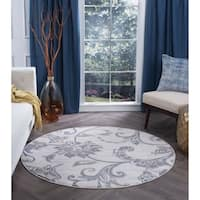 Alise Rugs Carrington Transitional Floral Area Rug (7'10 Round) - 7'10