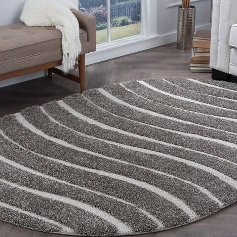 Alise Rugs Waverly Shag Contemporary Stripe Oval Area Rug - 3'11 x 5'3