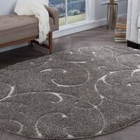 Alise Rugs Waverly Shag Gray Transitional Scroll Area Rug (6'7 x 9'6 Oval) - 6'7 x 9'6