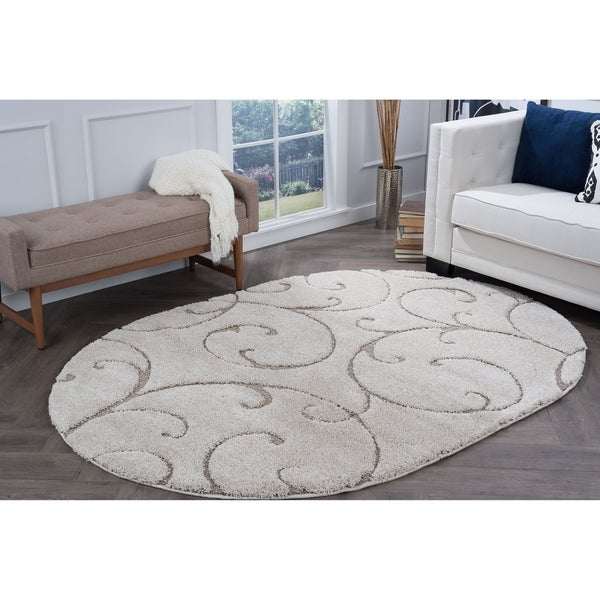Alise Rugs Waverly Shag Cream Transitional Scroll Oval Area Rug (6'7 x 9'6)