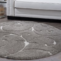 Alise Rugs Waverly Shag Gray Transitional Scroll Round Area Rug - 7'10