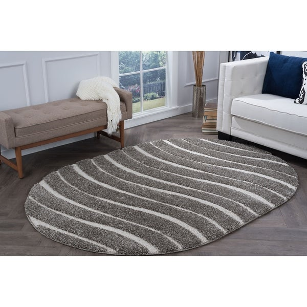 Alise Rugs Waverly Shag Gray Contemporary Stripe Area Rug (6'7 x 9'6 Oval) - 6'7 x 9'6