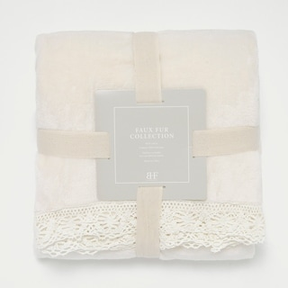 Aurora Home Plush Fleece Lace Border Throw Blanket