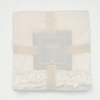 Aurora Home Plush Fleece Lace Border Throw Blanket