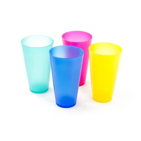 4 Pack Reusable Colorful Plastic Cups - Party Picnic Drinking Cups