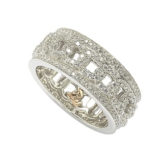 Suzy Levian Sterling Silver Cubic Zirconia Link Eternity Band Ring - White