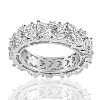 Suzy Levian Sterling Silver Cubic Zirconia Abstract Cluster Eternity Band Ring - White