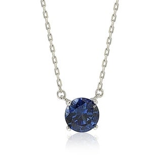 Suzy L Sterling Silver Blue Sapphire Solitaire Necklace