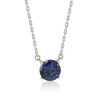 Suzy Levian Sterling Silver Blue Sapphire Solitaire Necklace