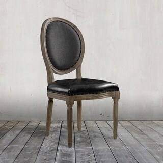 Vintage Louis Side Chair in Slate Leather & Wool