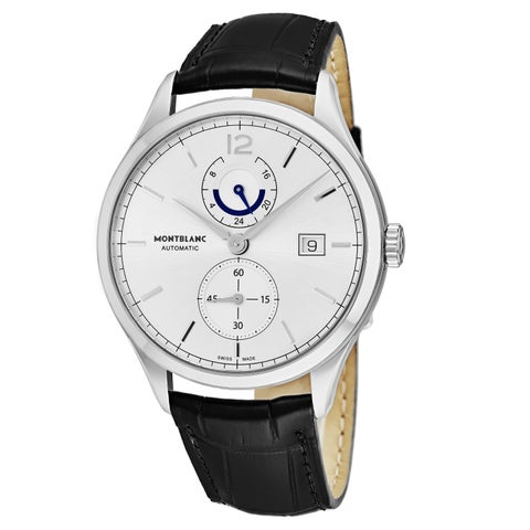 Mont Blanc Men's 'Chronometrie Heritage' Silver Dial Black Leather Strap Dual Time Swiss Automatic Watch