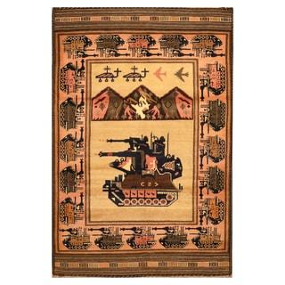 Handmade Herat Oriental Afghan Hand-knotted Wool War Rug (3'1 x 4'8)