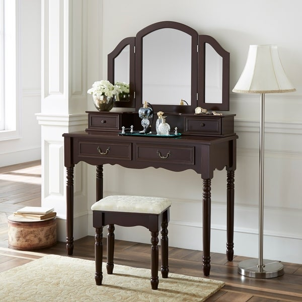 fineboard elegant vanity dressing table set makeup dressing table with 3 mirrors and stool 4