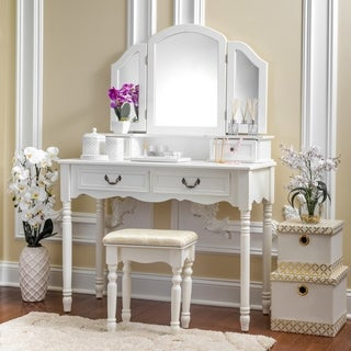 Fineboard Elegant Vanity Dressing Table Set Makeup Dressing Table with 3 Mirrors and Stool, 4 Drawers