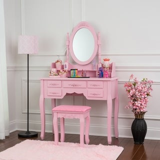 Fineboard Vanity Set with Stool & Mirror Makeup Table with 7 Organization Drawers Single Oval Mirror Make Up Vanity Set