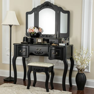Fineboard Vanity Set Beauty Station Makeup Table and Wooden Stool Set with 3 Mirrors and 5 Organization DrawersSet (5 options available)