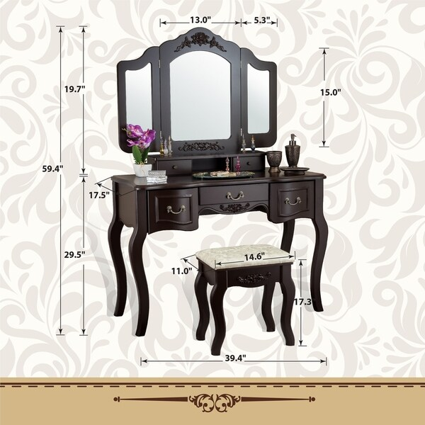 Vanity Beauty Station Makeup Table Wooden Stool Set Mirror Black Drawers Bedroom